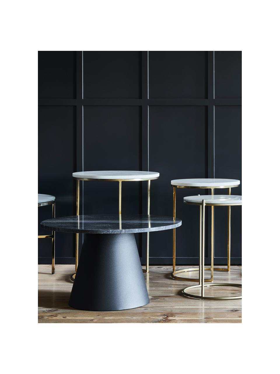Runder Marmor-Couchtisch Mary, Tischplatte: Marmor, Gestell: Metall, beschichtet, Schwarzer Marmor, Schwarz, ∅ 70 x H 40 cm