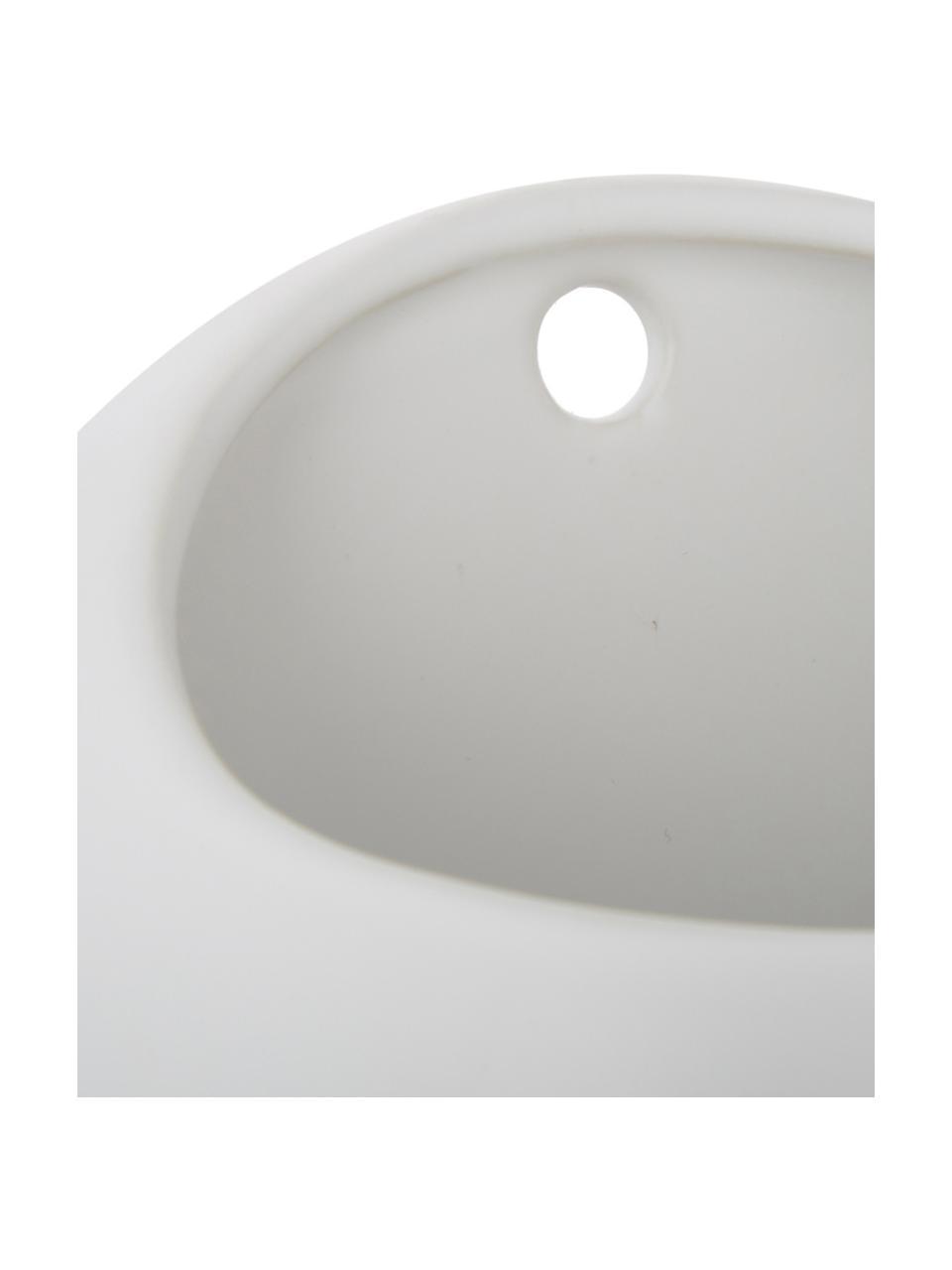 Ścienna osłonka na doniczkę z ceramiki Globe, Ceramika, Biały, Ø 15 x W 10 cm