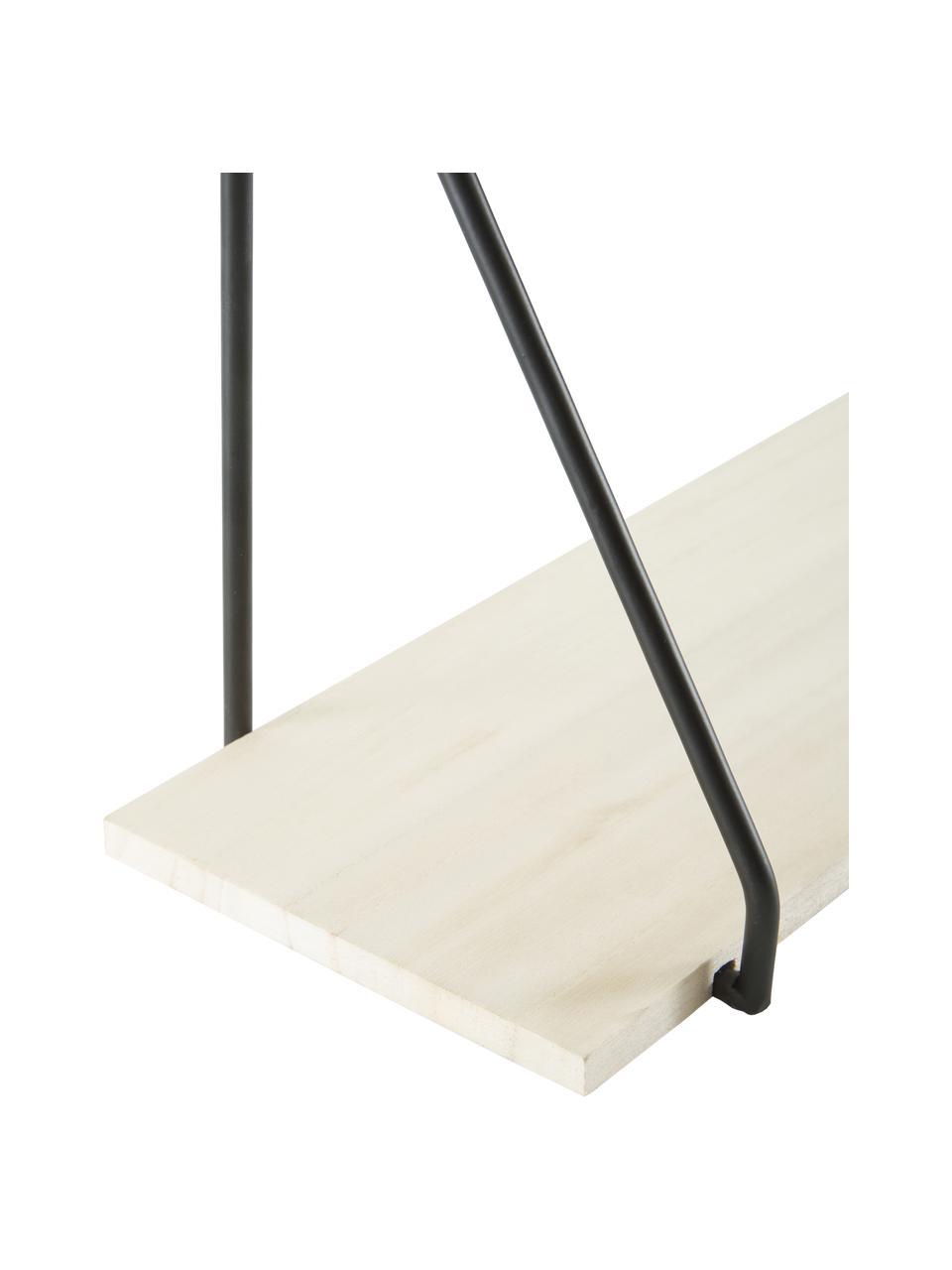 Półka ścienna z metalu i drewna Arnhem, Stelaż: metal malowany proszkowo , Czarny, brązowy, S 65 x W 27 cm