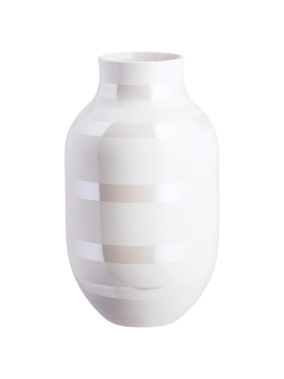 Grote handgemaakte design vaas Omaggio, Keramiek, Wit, parelmoerkleurig, Ø 20 x H 31 cm