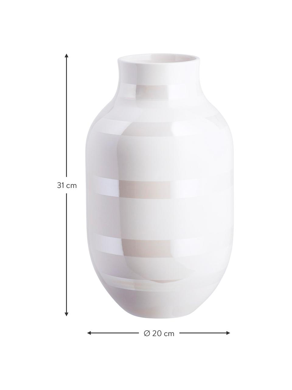 Große handgefertigte Design-Vase Omaggio, Keramik, Weiß, Perlmuttfarben, Ø 20 x H 31 cm