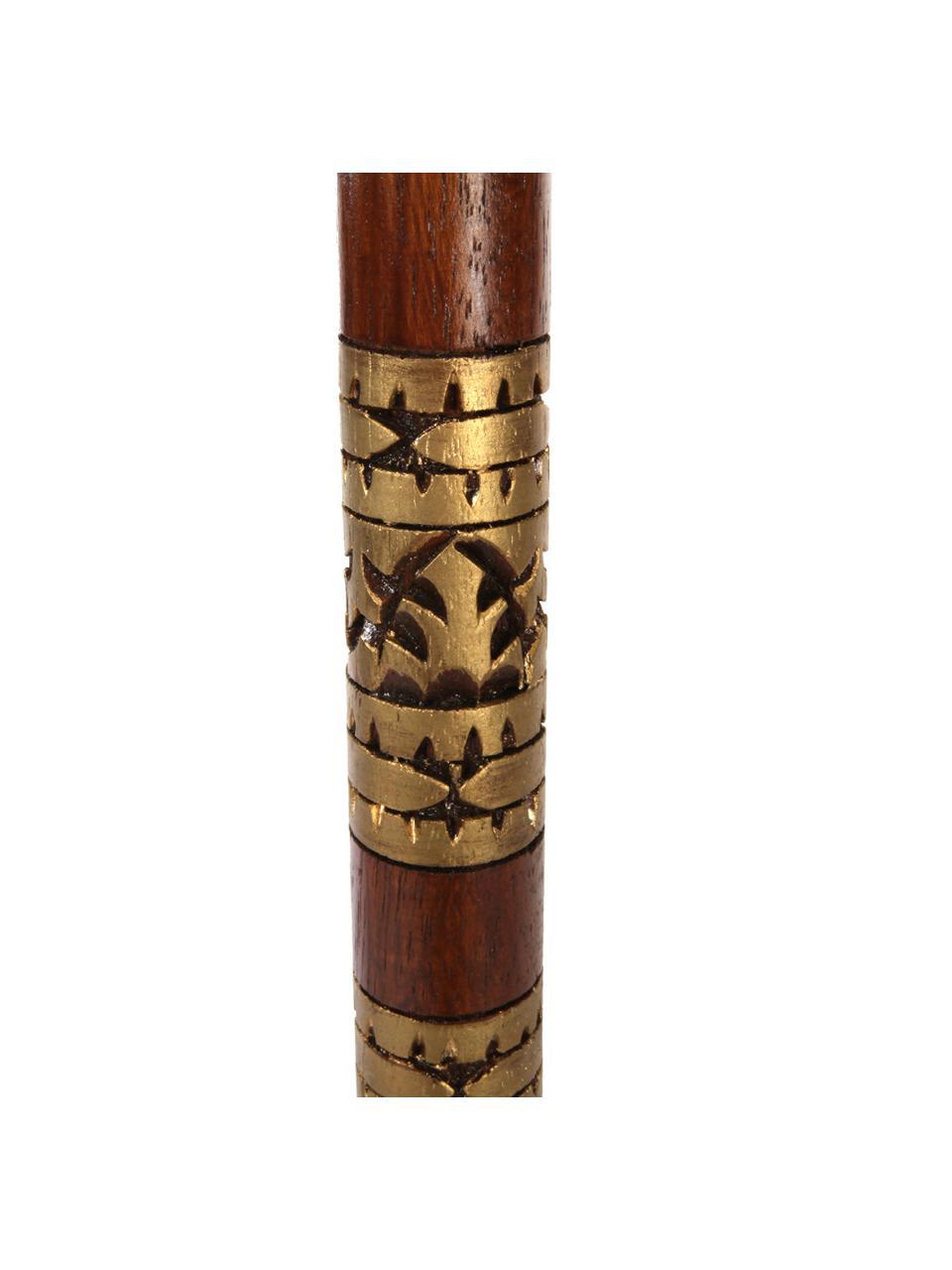 Runder Sonnenschirm Oriental Lounge in Türkis, Ø 180 cm, Gestell: Fruchtholz mit Metallappl, Türkis, Goldfarben, Dunkelbraun, Ø 180 x H 225 cm