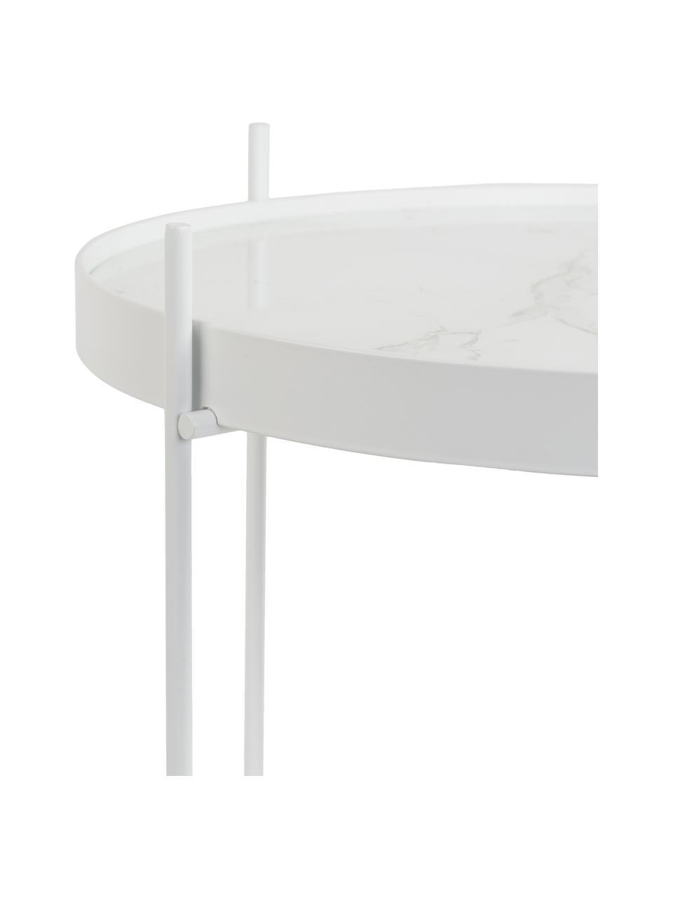 Tavolino-vassoio rotondo con piano in vetro effetto marmo Cupid, Struttura: ferro verniciato a polver, Bianco, Ø 43 x Alt. 45 cm