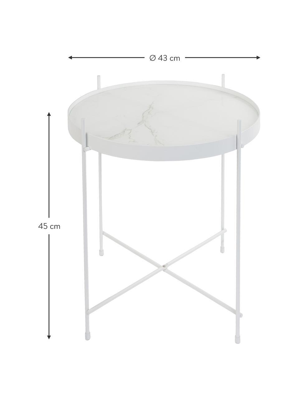 Tablett-Beistelltisch Cupid mit Glasplatte in Marmor-Optik, Gestell: Eisen, pulverbeschichtet, Tischplatte: Glasplatte mit Folie in M, Weiß, Ø 43 x H 45 cm