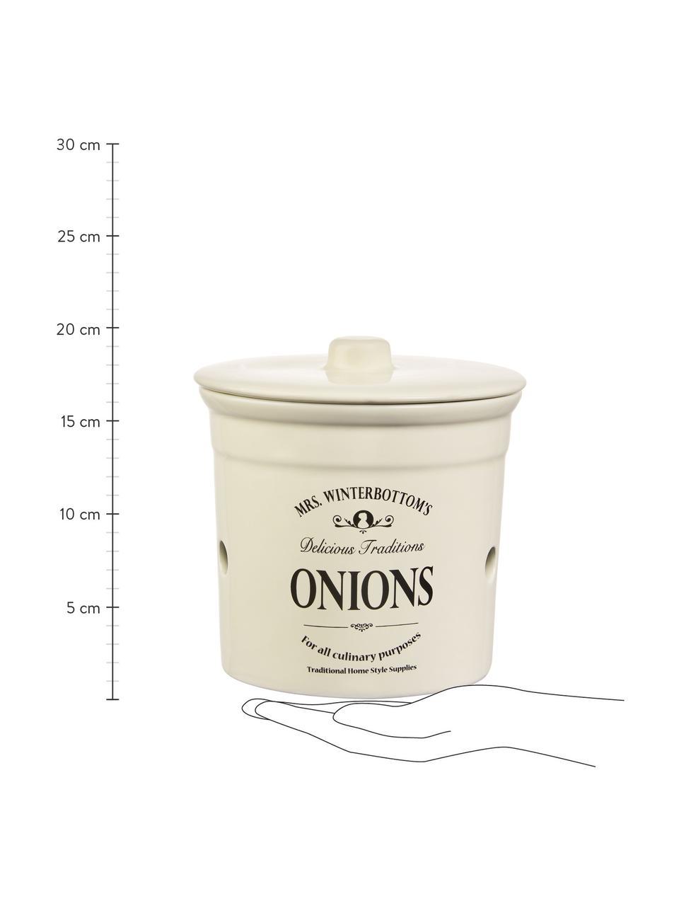 Aufbewahrungsdose Mrs Winterbottoms Onions, Ø 17 x H 18 cm, Steingut, Creme, Schwarz, Ø 17 x H 18 cm