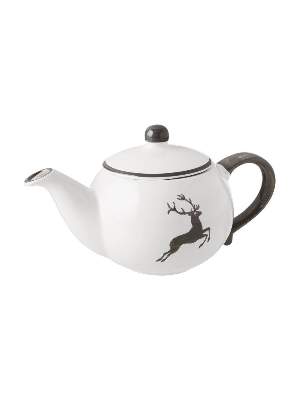 Handbemalte Teekanne Classic Grauer Hirsch, Keramik, Grau,Weiß, 500 ml