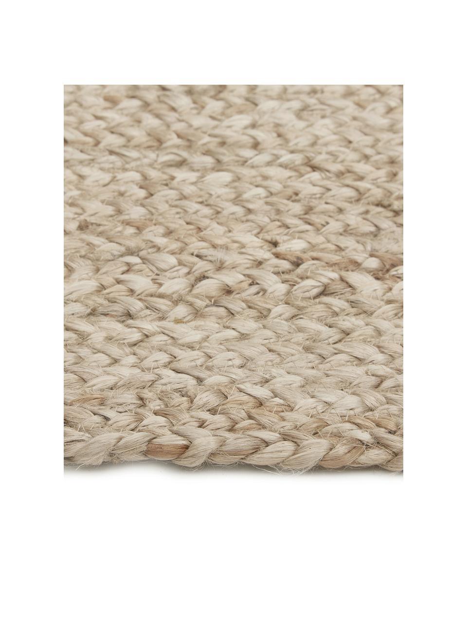 Handgemaakt juten vloerkleed Sharmila, 100% jute, Beige, B 60 x L 90 cm (maat XXS)