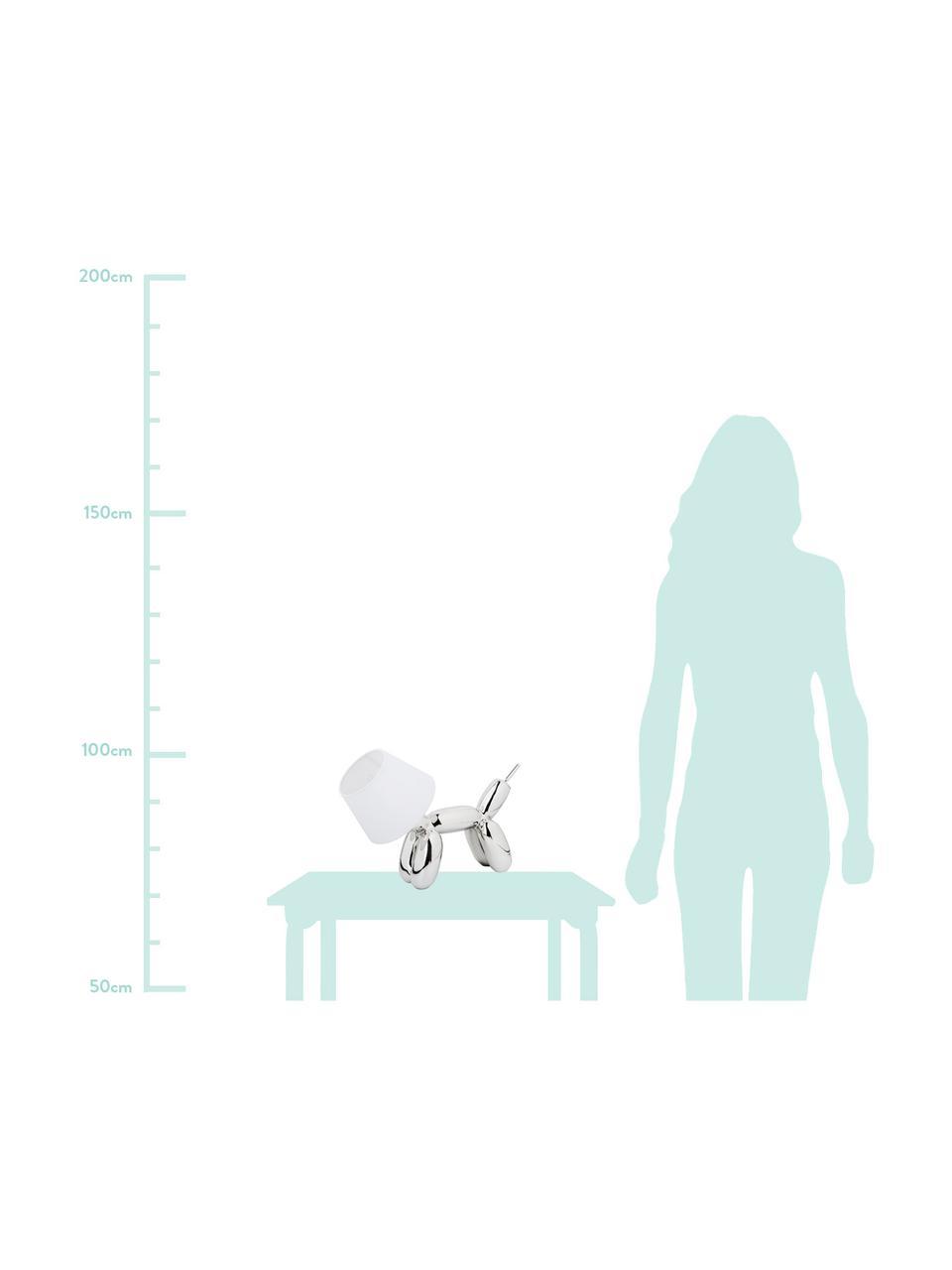 Kleine Design Tischlampe Doggy, Lampenfuß: Kunstharz, Chrom, Weiß, 28 x 25 cm