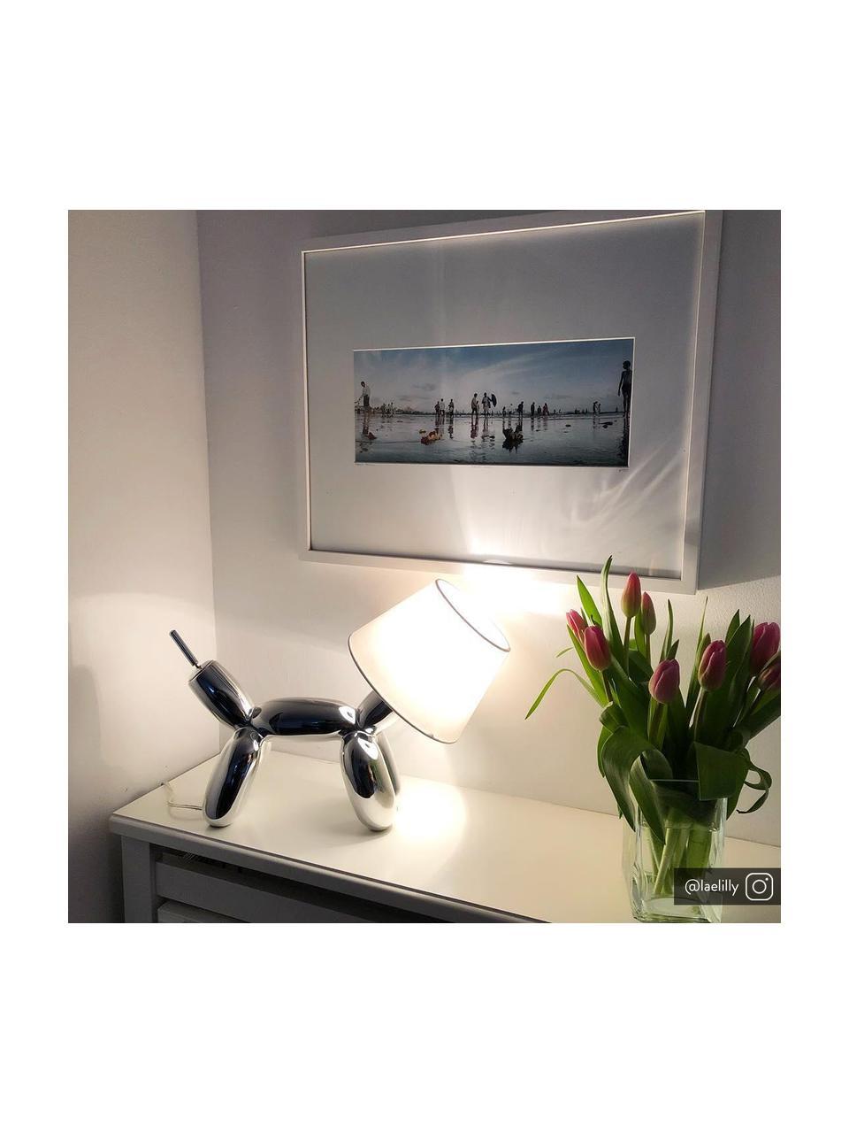 Lampada da tavolo di design Doggy, Struttura: resina sintetica, Cromo, bianco, Larg. 28 x Alt. 25 cm