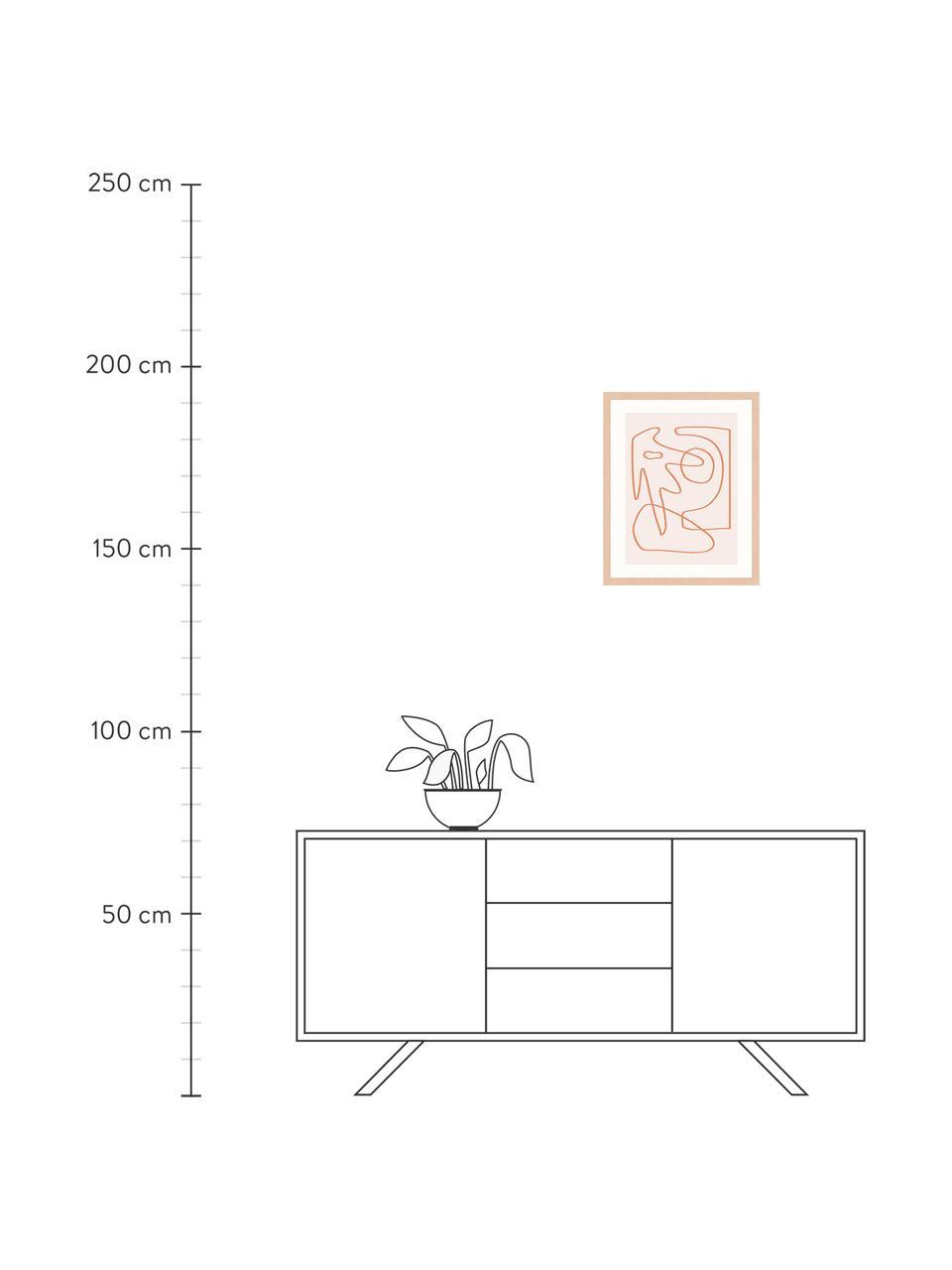Gerahmter Digitaldruck Abstract Organic Drawing, Bild: Digitaldruck auf Papier, , Rahmen: Holz, lackiert, Front: Plexiglas, Rosa, Orange, 43 x 53 cm