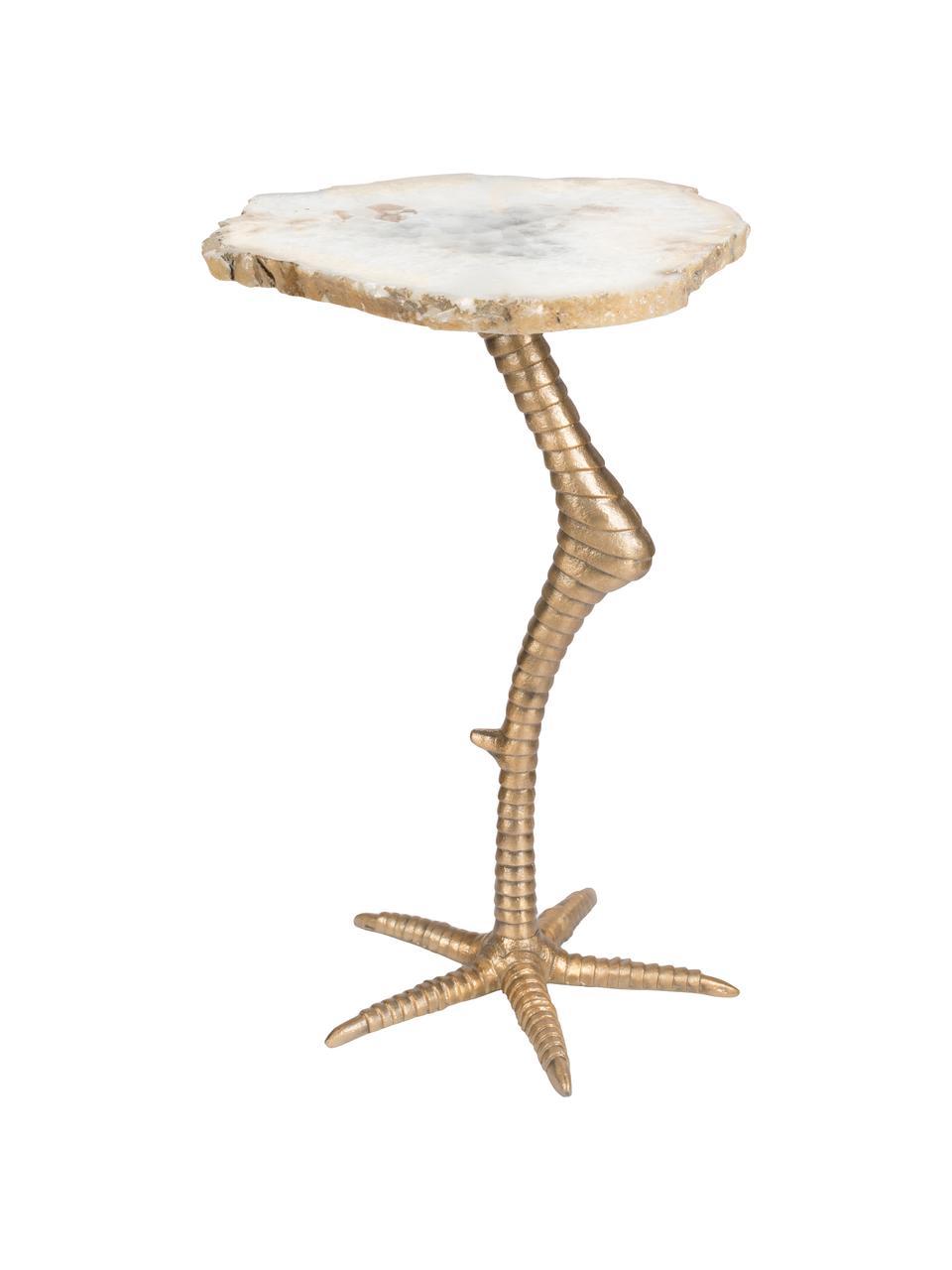 Tavolino in pietra d'agata Beauty And The Bird, Dorato, Larg. 30 x Alt. 46 cm