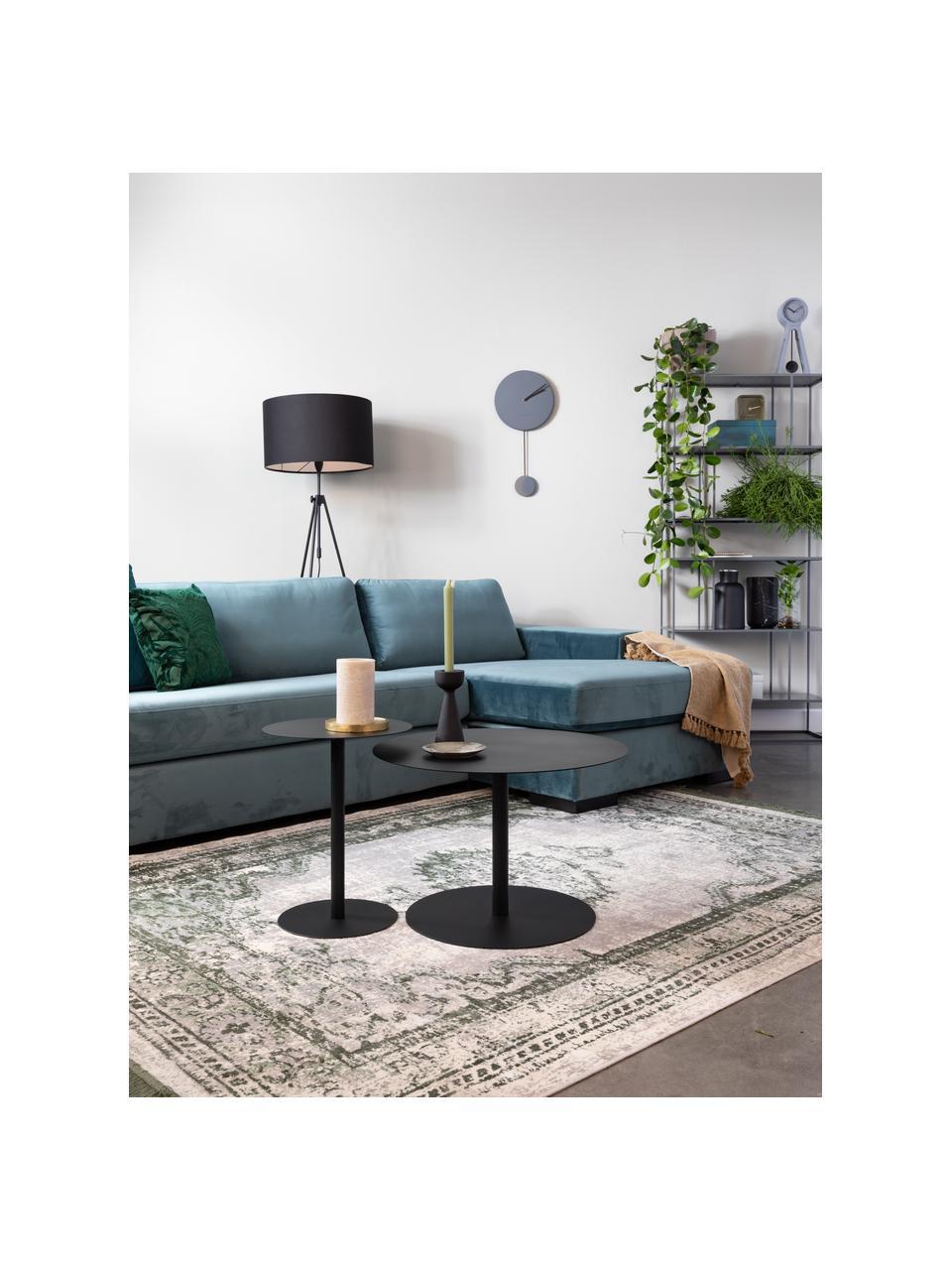 Stolik pomocniczy z metalu Snow, Metal malowany proszkowo, Czarny, Ø 35 x W 45 cm