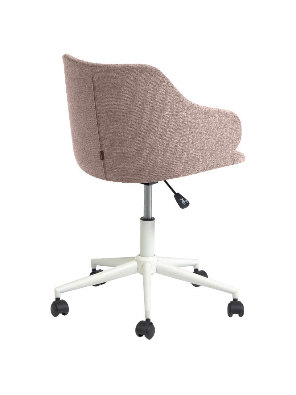 Sedia da ufficio girevole Einara, Rivestimento: poliestere, Struttura: acciaio rivestito, Ruote: polipropilene, Rosa, Larg. 64 x Alt. 64 cm