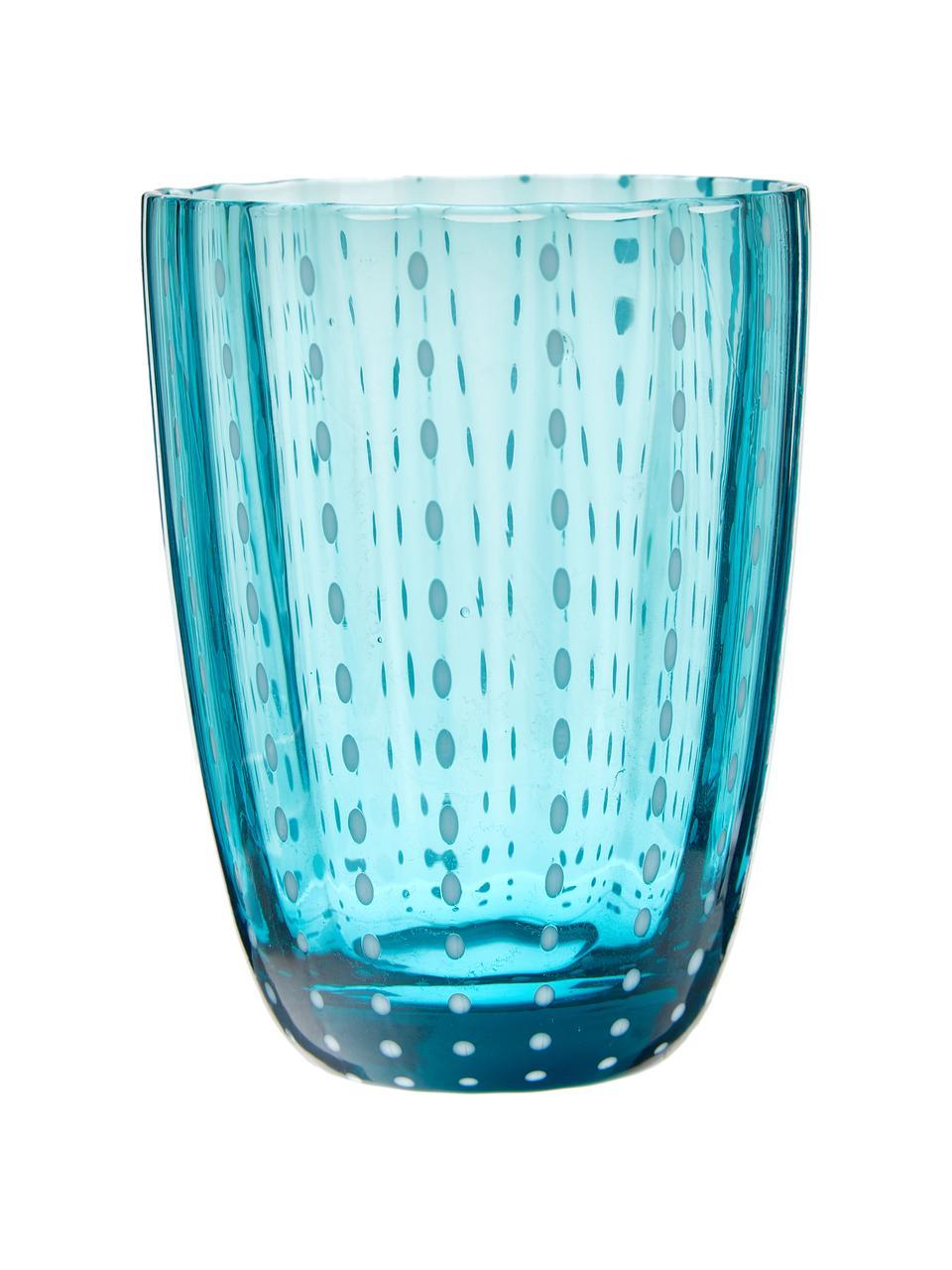 Wassergläser Kalahari in Blautönen, 6 Stück, Glas, Mehrfarbig, Ø 9 x H 11 cm