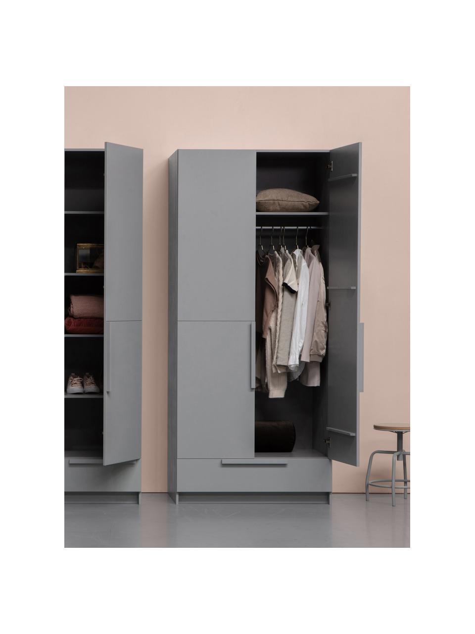 Kleiderschrank Pure in Grau, Kiefernholz, beschichtet, Grau, 95 x 215 cm
