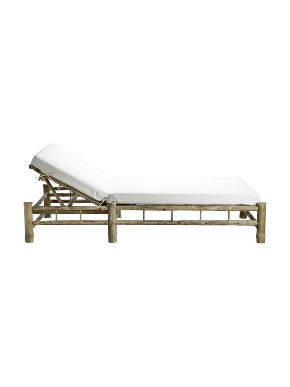 XL Bambus-Gartenliege Bambed mit Polsterauflage, Gestell: Bambus, Bezug: 100% Baumwolle, Weiß, Braun, 150 x 210 cm