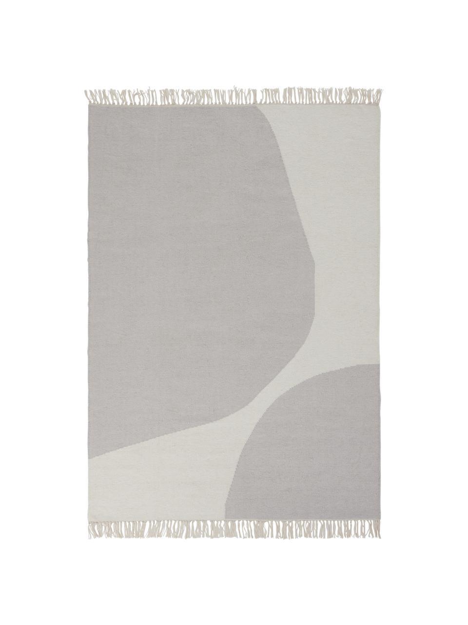 Handgewebter Wollteppich Stones mit abstraktem Muster, 81% Wolle, 19% Baumwolle, Gebrochenes Weiß, Beige, B 160 x L 230 cm (Größe M)