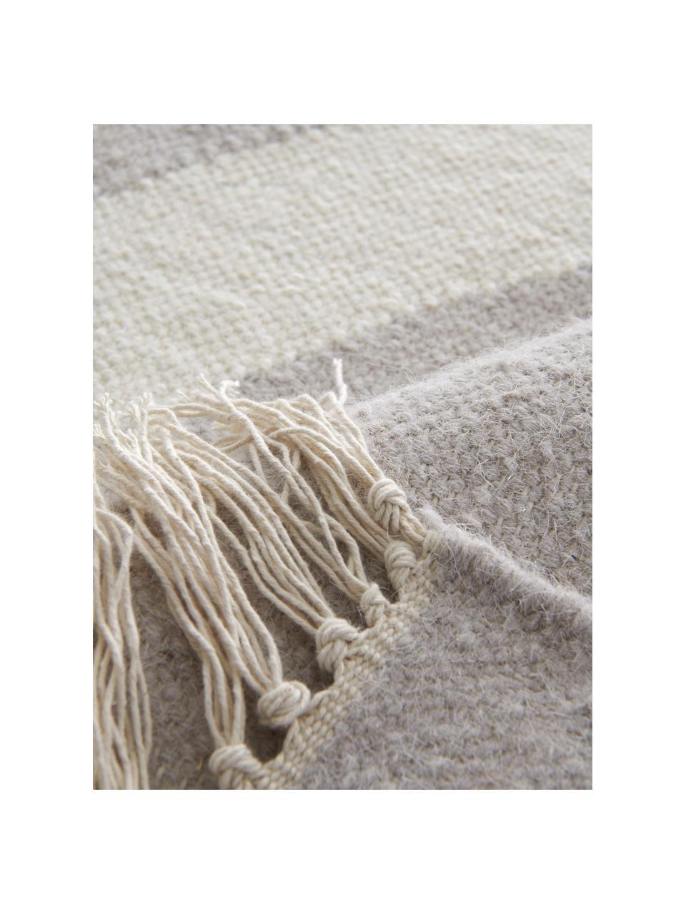 Tapis en laine tissé à la main Stones, Blanc cassé, beige