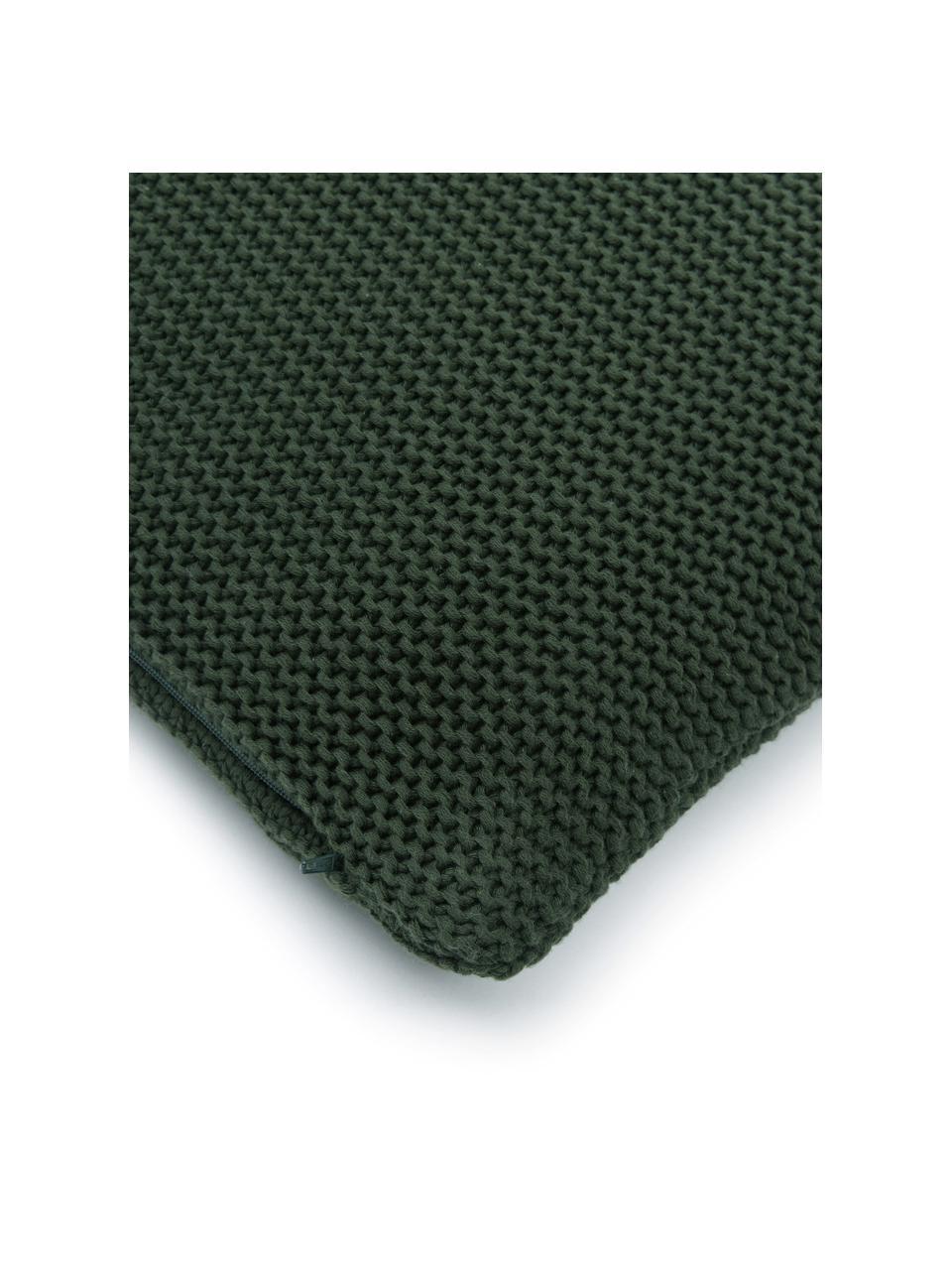 Strick-Kissenhülle Adalyn aus Bio-Baumwolle in Dunkelgrün, 100% Bio-Baumwolle, GOTS-zertifiziert, Dunkelgrün, 50 x 50 cm