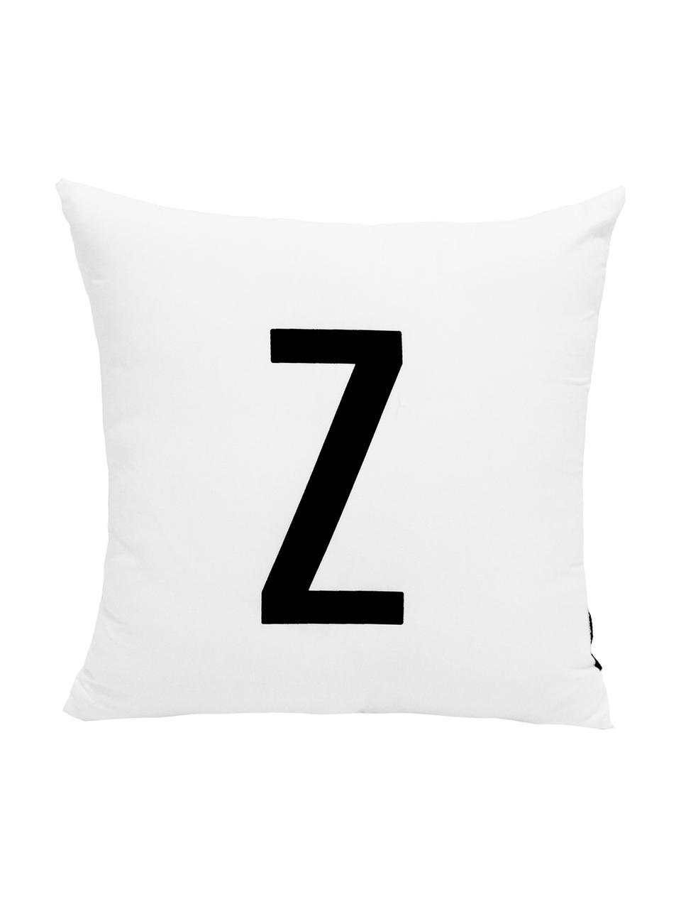 Poszewka na poduszkę Alphabet (warianty od A do Z), 100% poliester, Czarny, biały, Poszewka na poduszkę Z