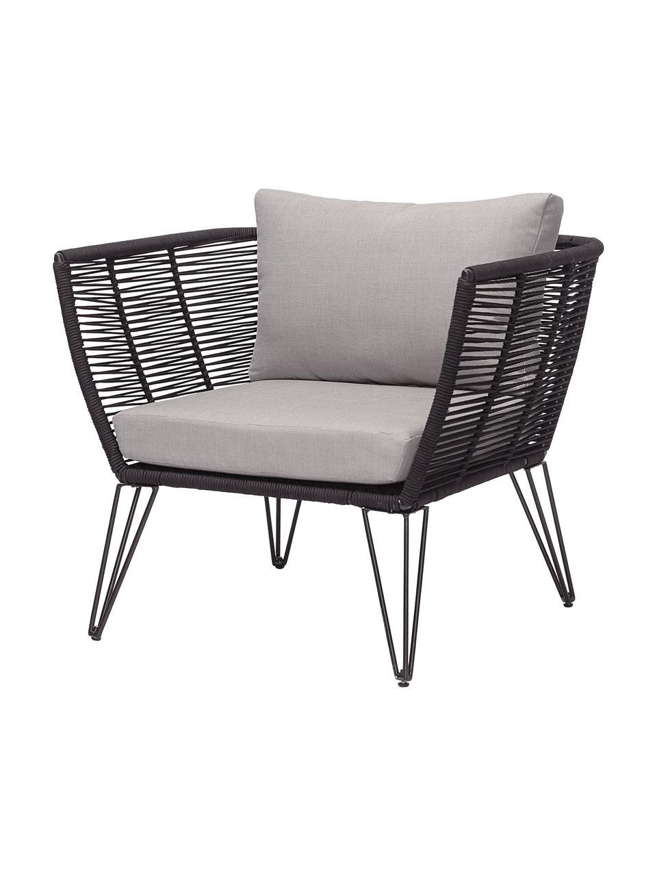 Garten-Loungesessel Mundo mit Kunststoff-Geflecht, Gestell: Metall, pulverbeschichtet, Sitzfläche: Polyethylen, Bezug: Polyester, Schwarz, matt, Beige, B 87 x T 74 cm