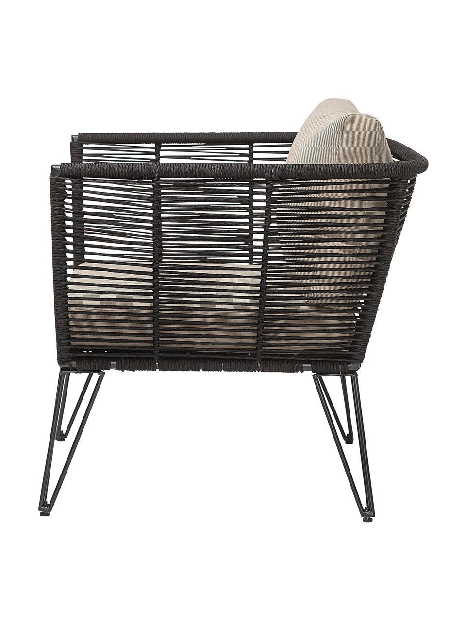 Garten-Loungesessel Mundo mit Kunststoff-Geflecht, Gestell: Metall, pulverbeschichtet, Sitzfläche: Polyethylen, Bezug: Polyester Die Bezüge sind, Schwarz, Beige, B 87 x T 74 cm