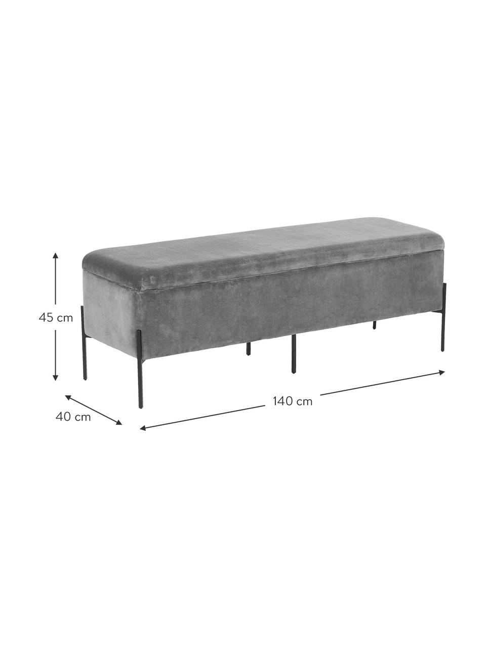 Fluwelen bank Harper met opbergruimte, Poten: gepoedercoat metaal, Bekleding: lichtgrijs. Poten: mat zwart, 140 x 45 cm