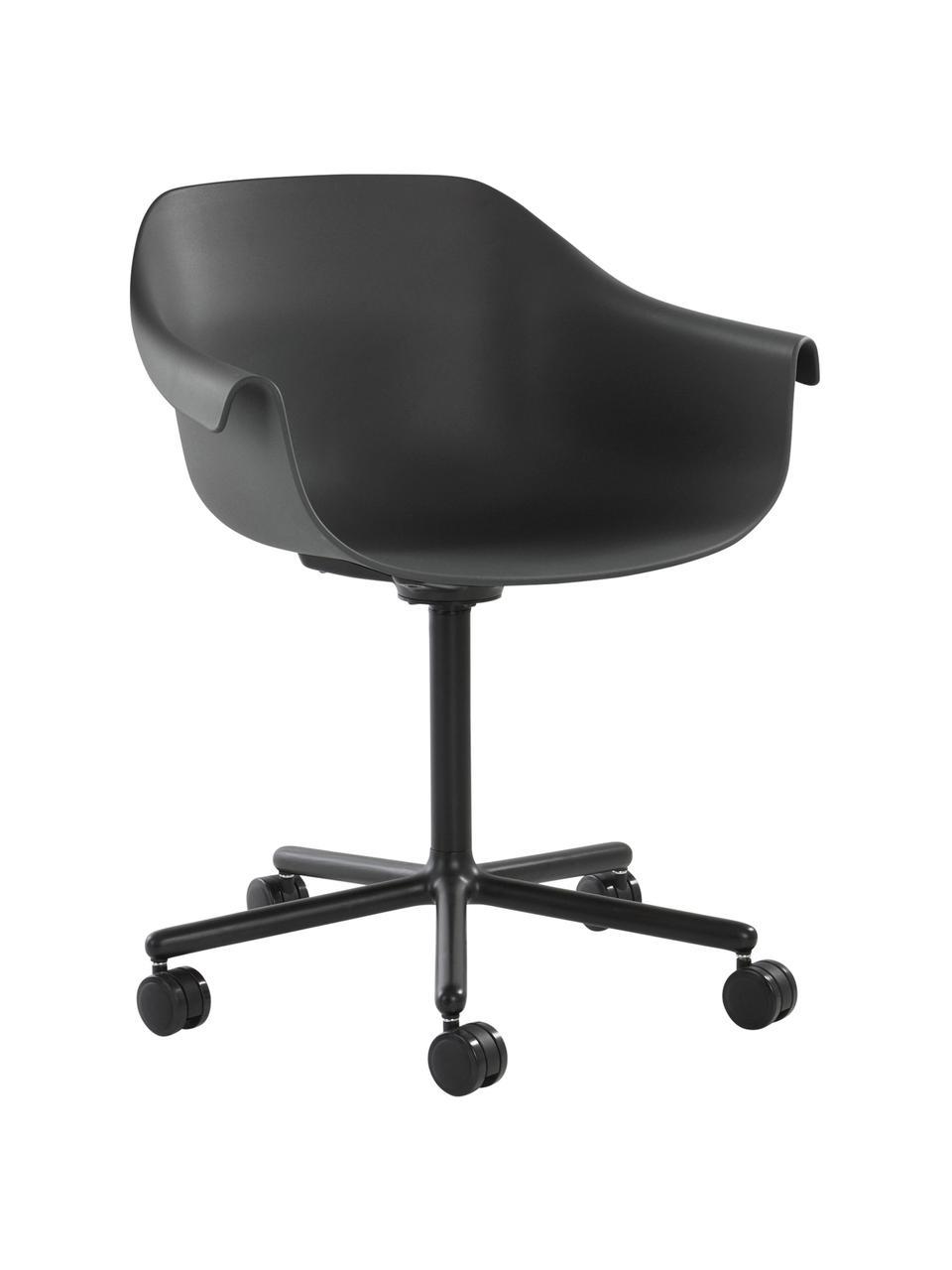 Bürodrehstuhl Warrington in Schwarz, Sitzfläche: Polypropylen, Gestell: Aluminium, Schwarz, B 57 x T 63 cm