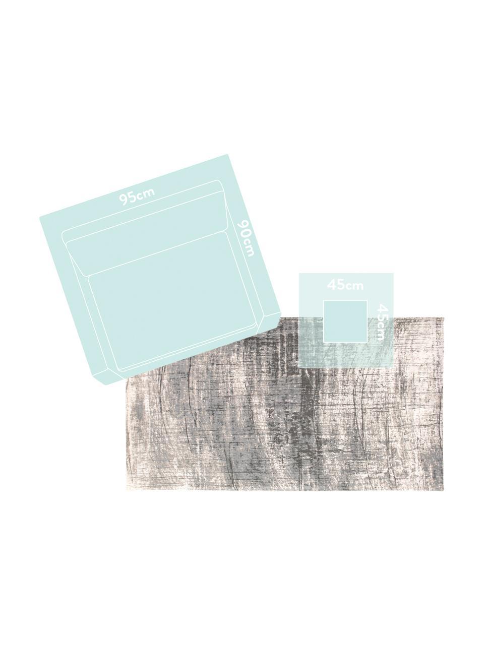 Design vloerkleed Griff in vintage stijl, Bovenzijde: 85%katoen, 15%hoogglanz, Weeftechniek: jacquard, Onderzijde: katoenmix, latex coating, Grijstinten, wit, B 140 x L 200 cm (Maat S)