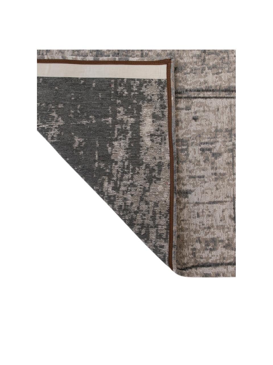 Tappeto vintage di design Griff, Retro: Cotone misto rivestito di, Tonalità grigie, bianco, Larg. 140 x Lung. 200 cm (taglia S)
