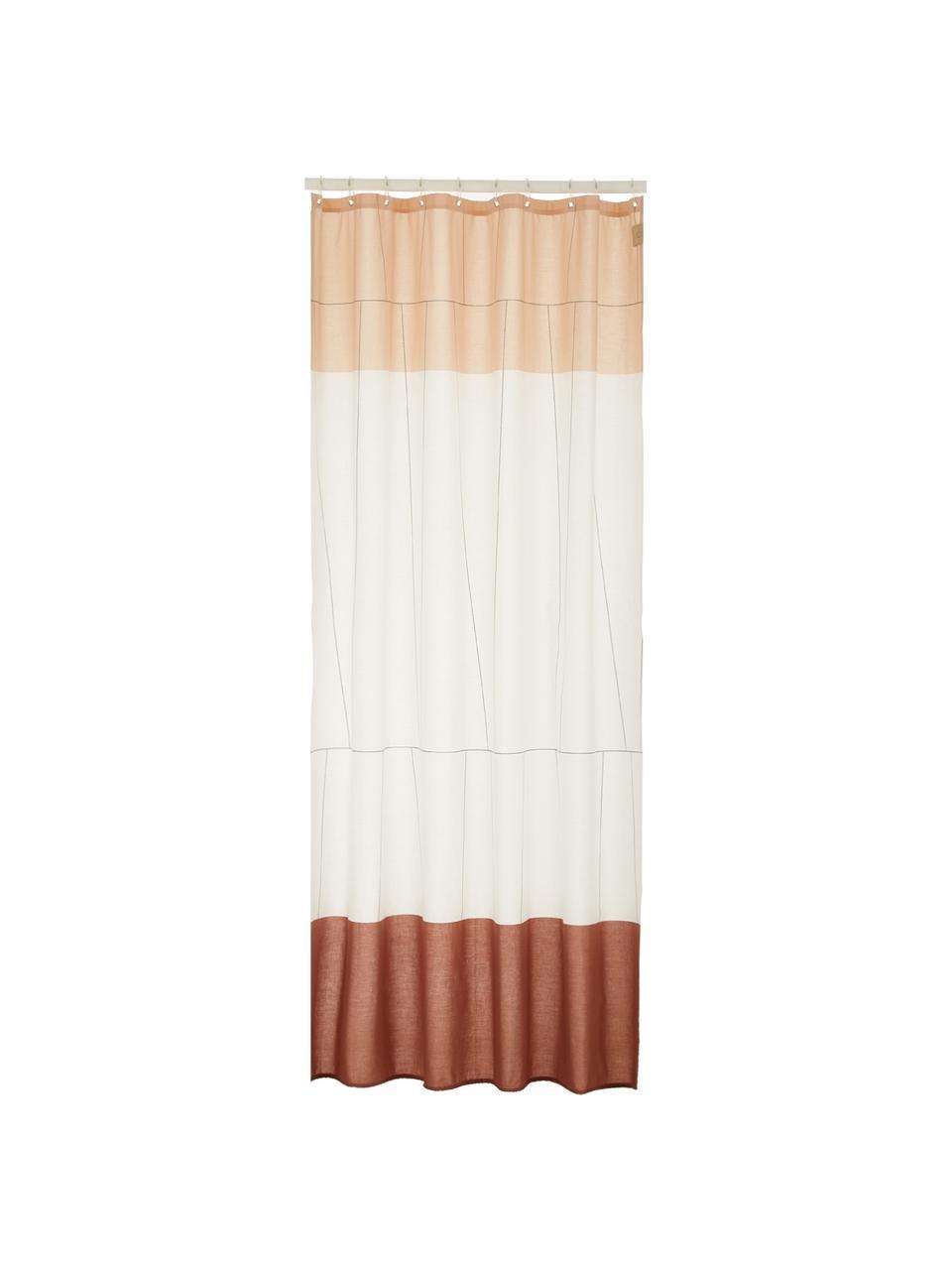 Petit rideau de douche en coton bicolore Verdi, Tons rouges, blanc