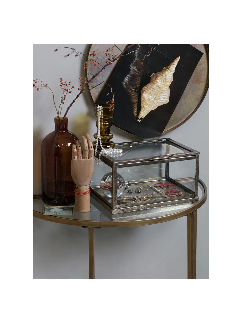 Halbrunde Glas-Konsole Goddess mit Antik-Finish, Gestell: Metall, pulverbeschichtet, Messingfarben, 76 x 75 cm