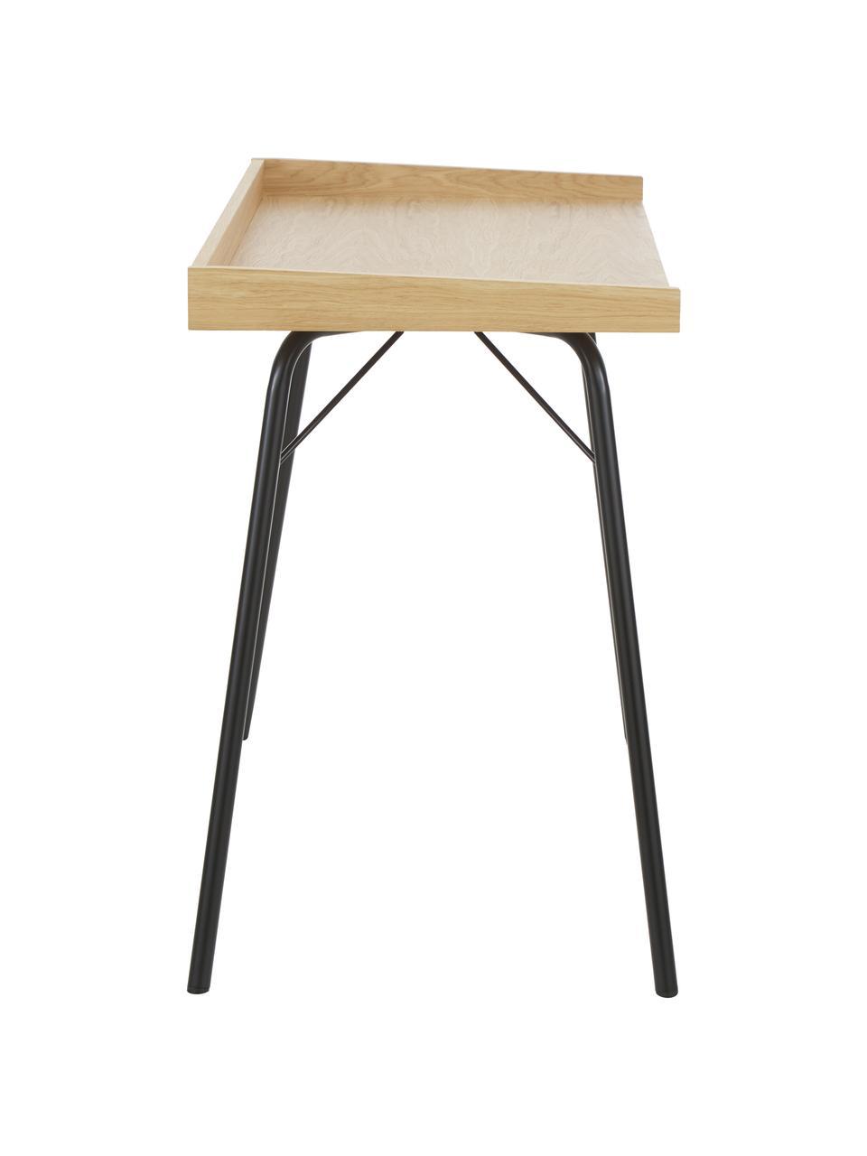 Schreibtisch Rayburn mit Eichenholzfurnier, Tischplatte: Mitteldichte Holzfaserpla, Gestell: Metall, pulverbeschichtet, Eiche, B 115 x T 52 cm
