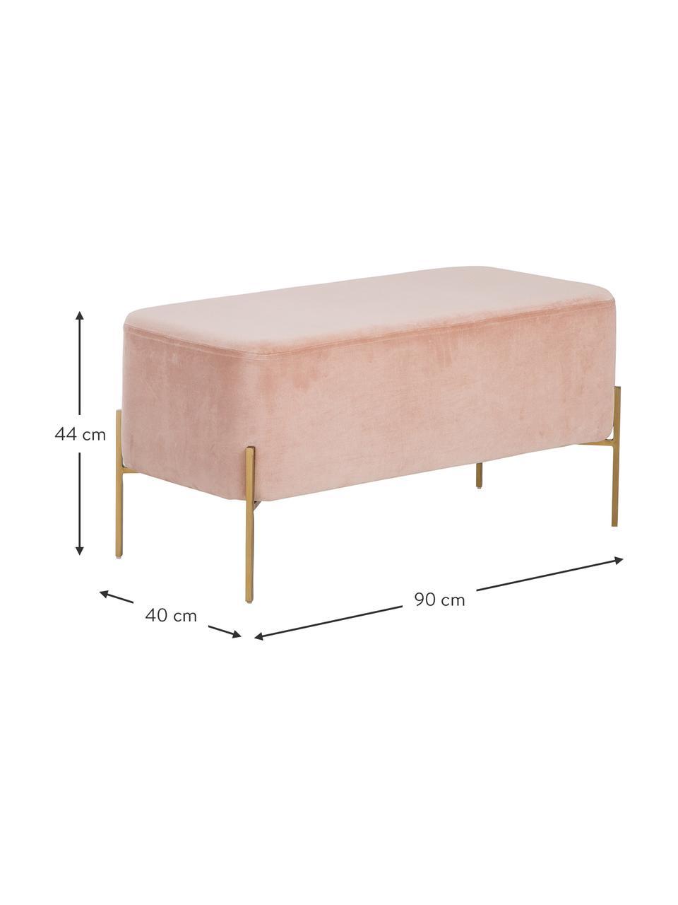 Samt-Polsterbank Harper, Bezug: Baumwollsamt, Fuß: Metall, pulverbeschichtet, Samt Altrosa, Goldfarben, 90 x 44 cm