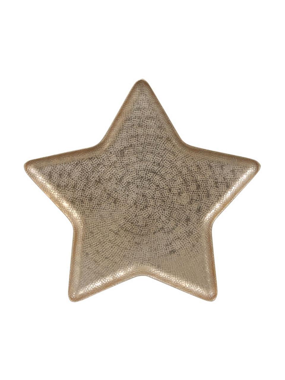 Deko-Schale Star, Aluminium, beschichtet, Messingfarben, matt, 33 x 2 cm