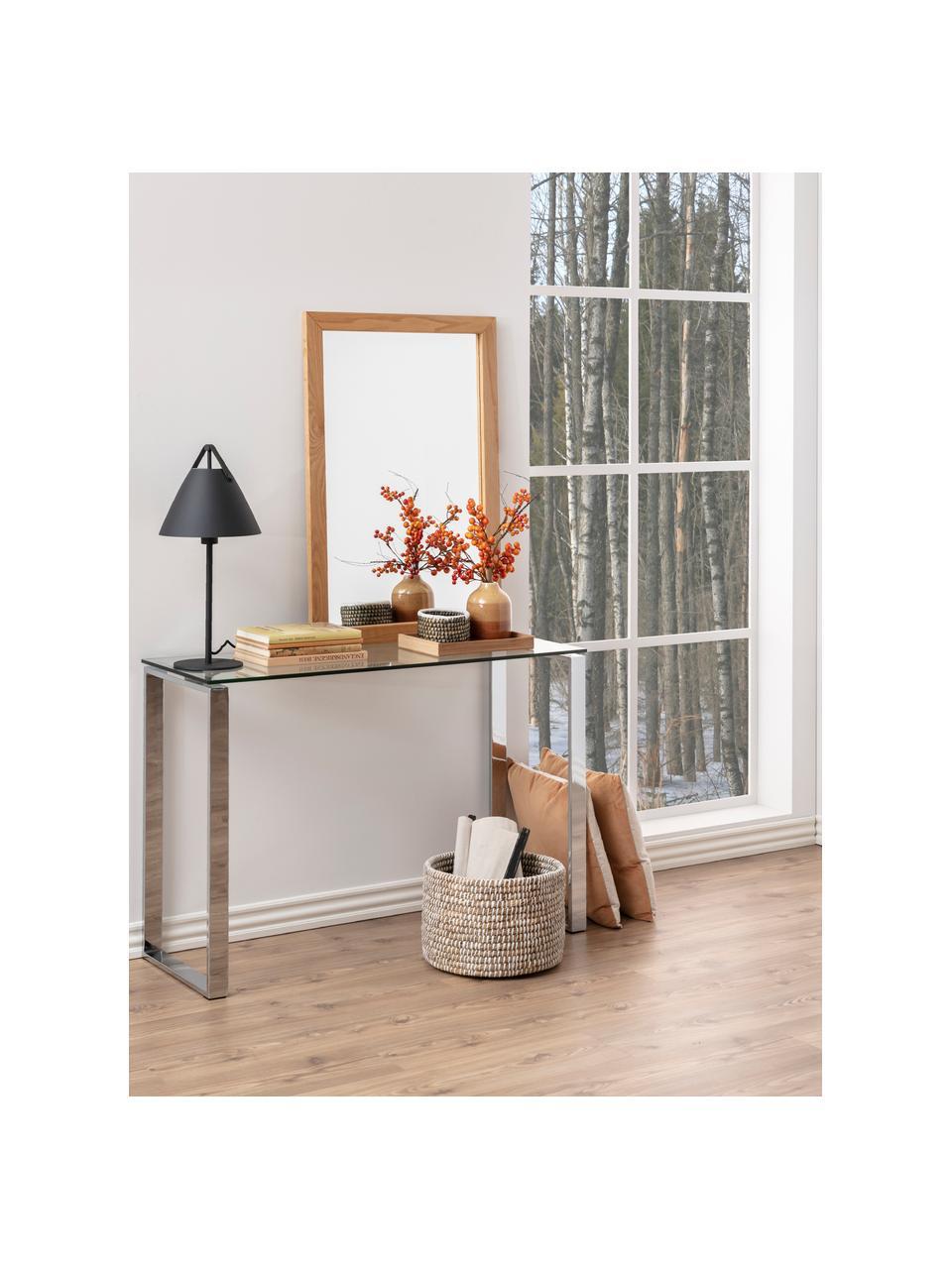 Consolle in vetro con struttura argentata Katrine, Struttura: metallo rivestito, Mensola: vetro, Cromo, Larg. 110 x Alt. 76 cm