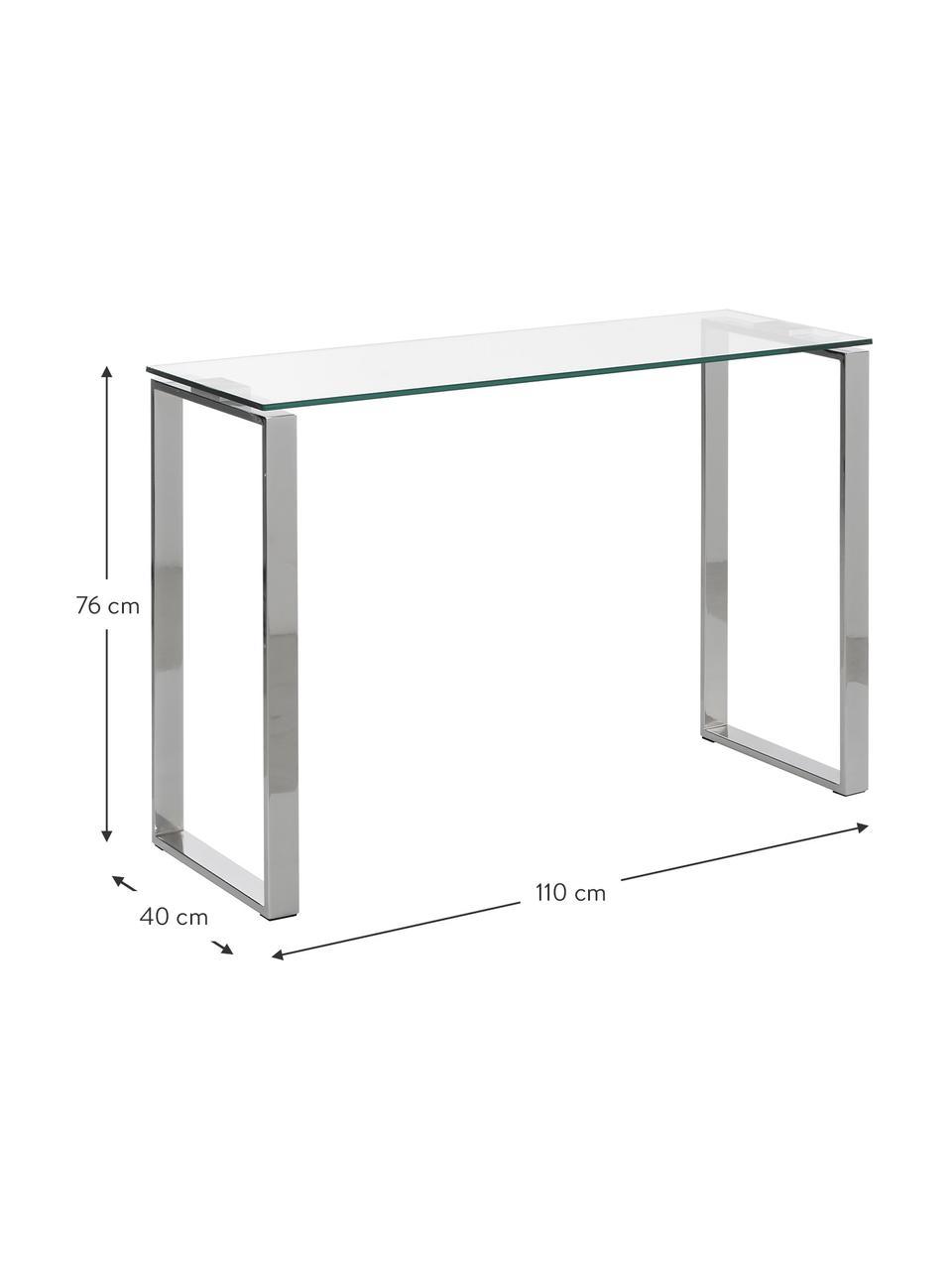 Console en verre cadre argenté Katrine, Chrome