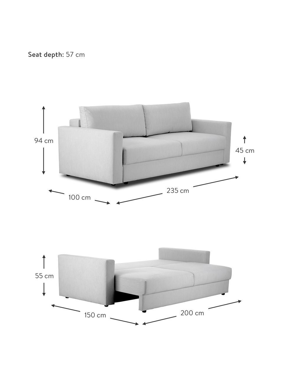Divano letto 2 posti in tessuto grigio chiaro Tasha, Rivestimento: 100% poliestere Il rivest, Tessuto grigio, Larg. 235 x Prof. 100 cm