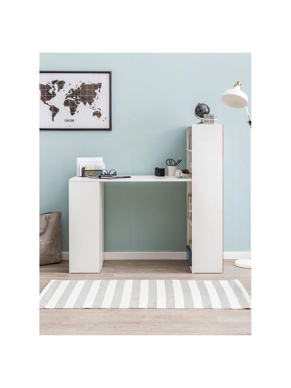 Weißer Schreibtisch Matt mit Stauraum, Mitteldichte Holzfaserplatte (MDF), lackiert, Weiß, matt, B 120 x T 53 cm