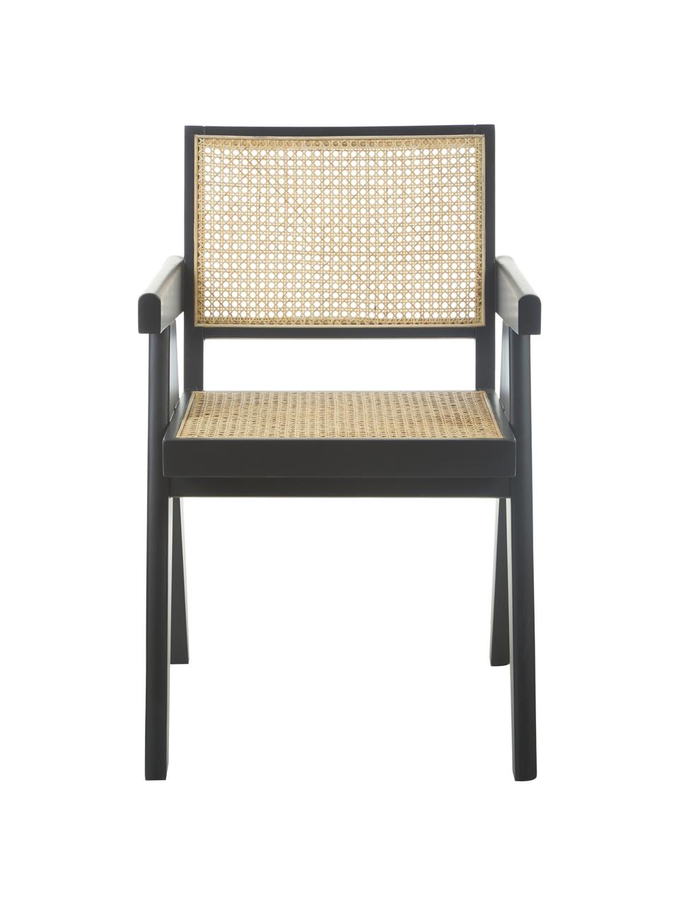 Chaise à accoudoirs en cannage Sissi, Structure: bois de hêtre Assise: beige