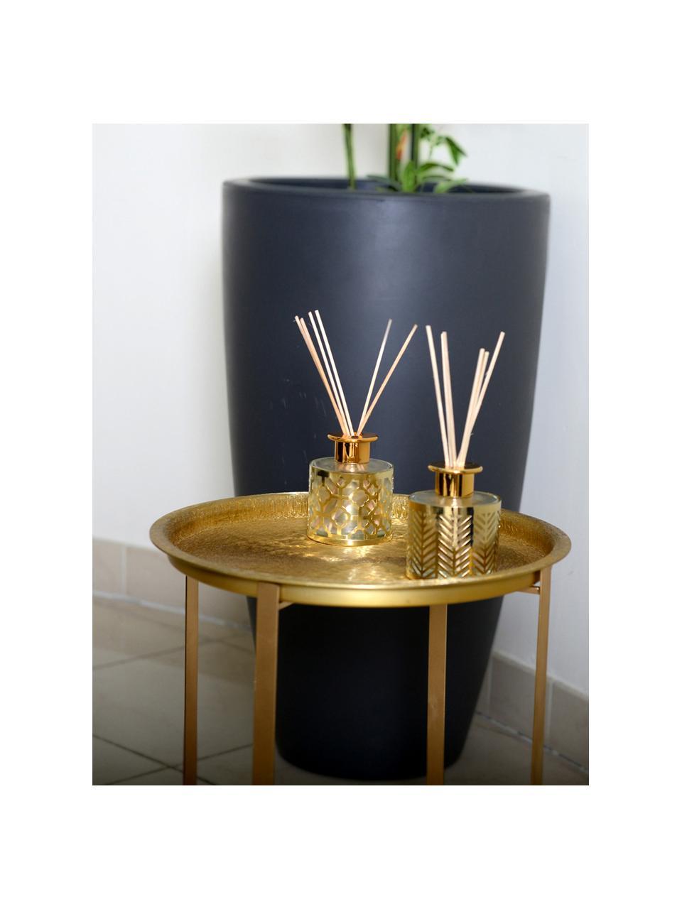 Dyfuzor Helion (wanilia), Metal, szkło, olejek,pałeczki drewno naturalne, Odcienie złotego, transparentny, Ø 9 x W 24 cm
