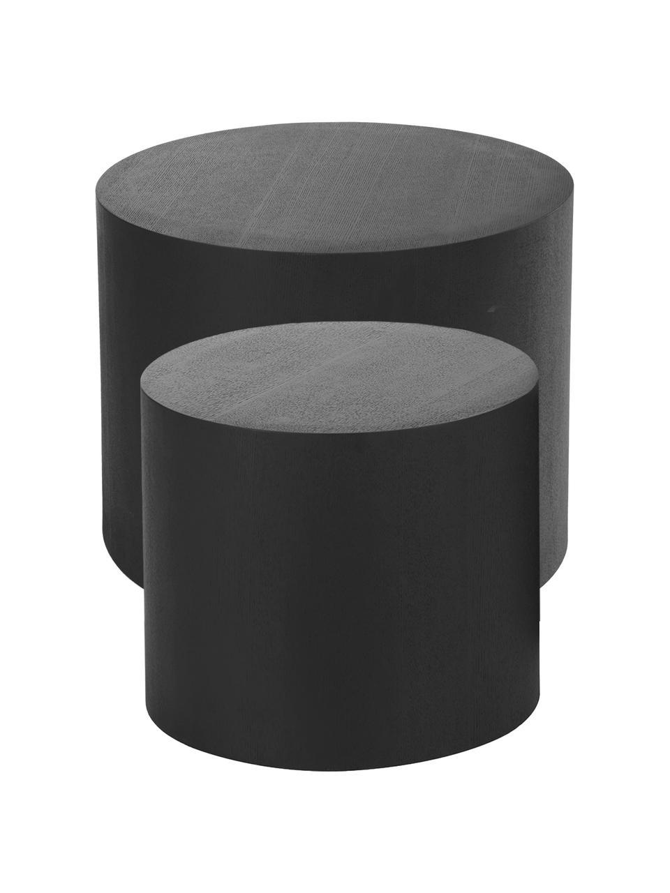 Komplet stolików pomocniczych z drewna Dan, 2 elem., Płyta pilśniowa (MDF) z fornirem z drewna jesionowego, Czarny, Komplet z różnymi rozmiarami