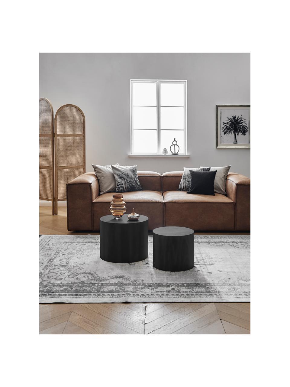 Table d'appoint ronde en bois noir Dan, 2élém., Noir