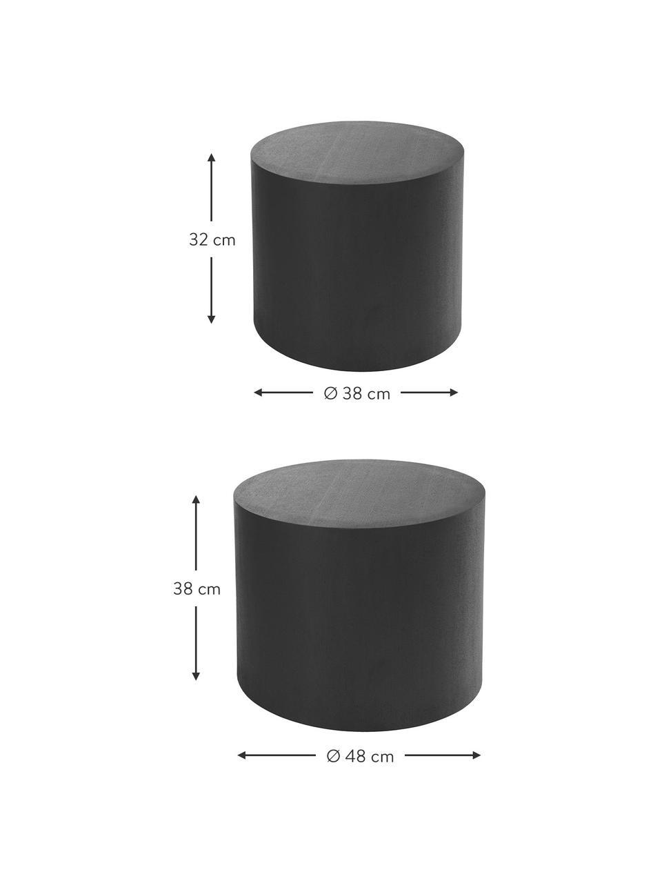 Bijzettafels Dan van hout, 2-delig, MDF met essenhoutfineer, Zwart, Set met verschillende formaten