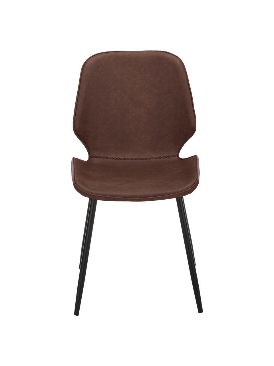 Kunstleren gestoffeerde stoelen Louis, 2 stuks, Bekleding: kunstleer (65% polyethyle, Poten: gepoedercoat metaal, Kunstleer bruin, B 44 x D 58 cm