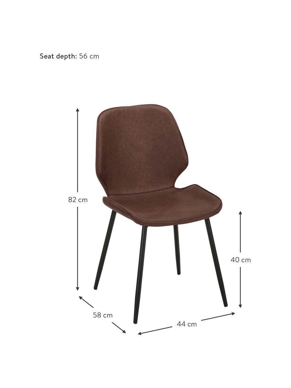 Krzesło tapicerowane ze sztucznej skóry  Louis, 2 szt., Tapicerka: sztuczna skóra (65% polie, Nogi: metal malowany proszkowo, Brązowy, S 44 x G 58 cm