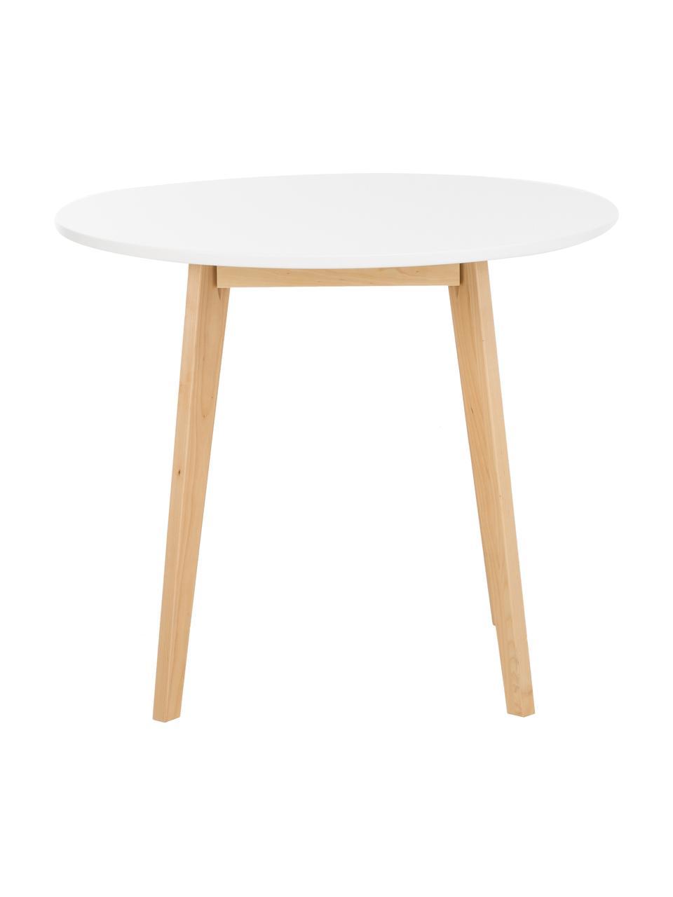 Runder Esstisch Raven, Ø 90 cm, Beine: Birkenholz, naturbelassen, Tischplatte: Mitteldichte Holzfaserpla, Weiß, Ø 90 cm x H 76 cm