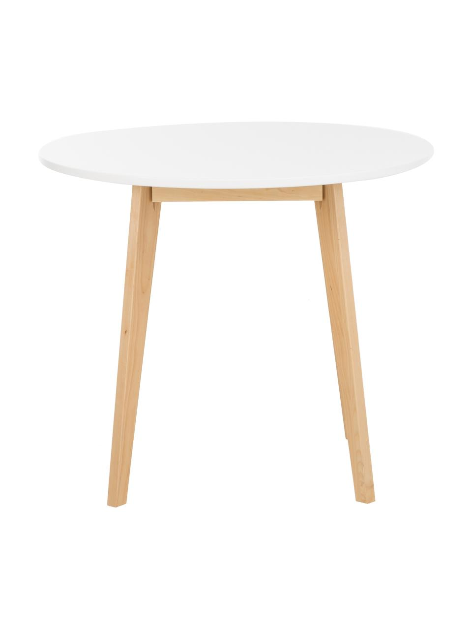 Tavolo rotondo in legno di betulla Raven, Ø90 cm, Gambe: legno di betulla, finitur, Piano d'appoggio: pannello di fibra a media, Bianco, legno di betulla, finitura naturale, Ø 90 x Alt. 76 cm