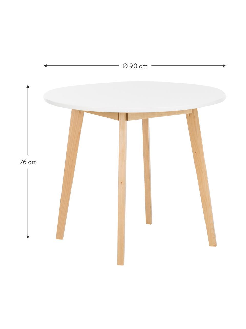 Okrągły stół do jadalni Raven, Nogi: drewno brzozowe, naturaln, Blat: płyta pilśniowa średniej , Biały, Ø 90 cm x W 76 cm