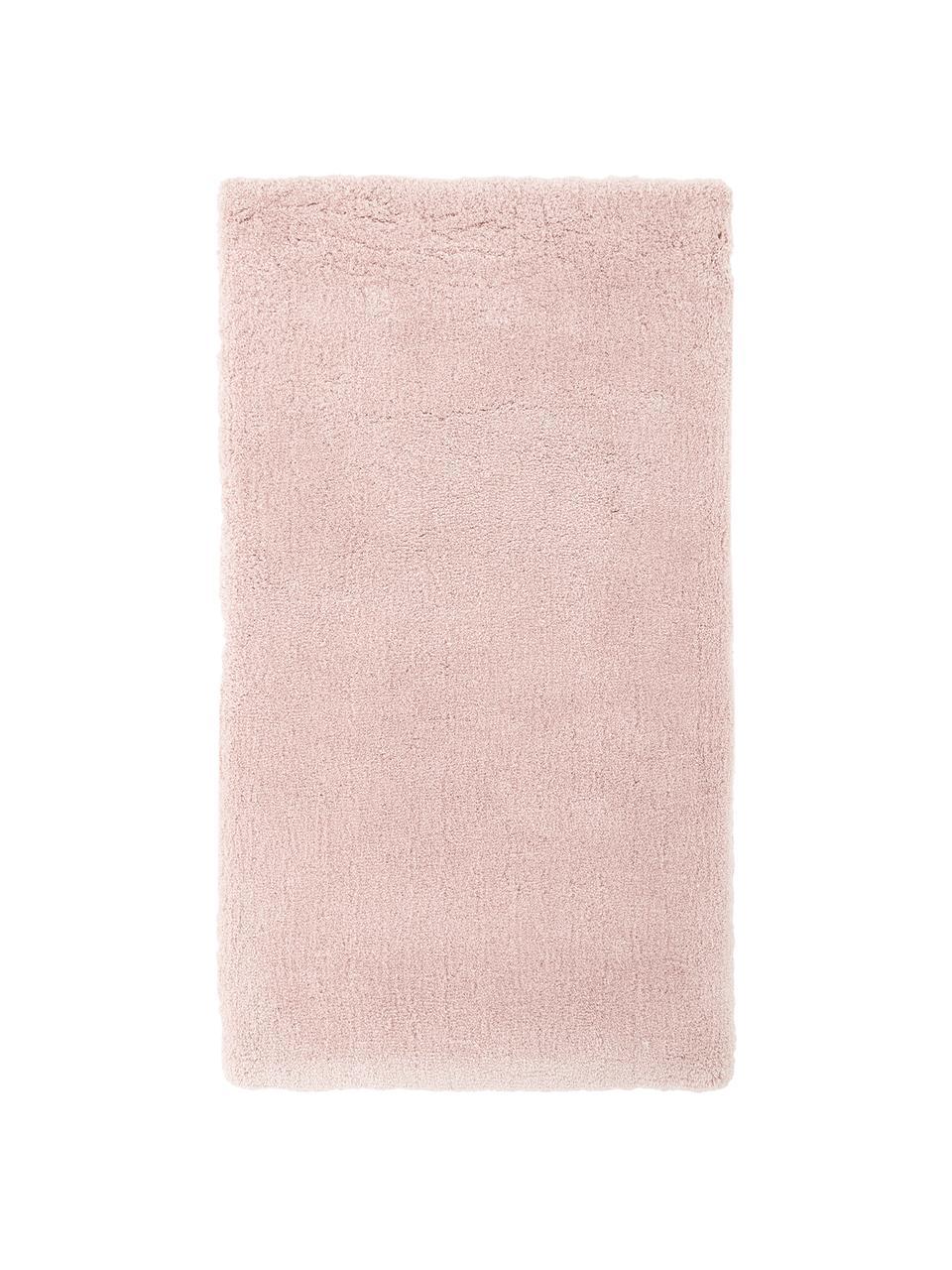 Pluizig hoogpolig vloerkleed Leighton in roze, Bovenzijde: microvezels (100% polyest, Onderzijde: 70% polyester, 30% katoen, Roze, B 80 x L 150 cm (maat XS)